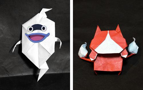 妖怪ウォッチのウィスパーとジバニャンの折り紙